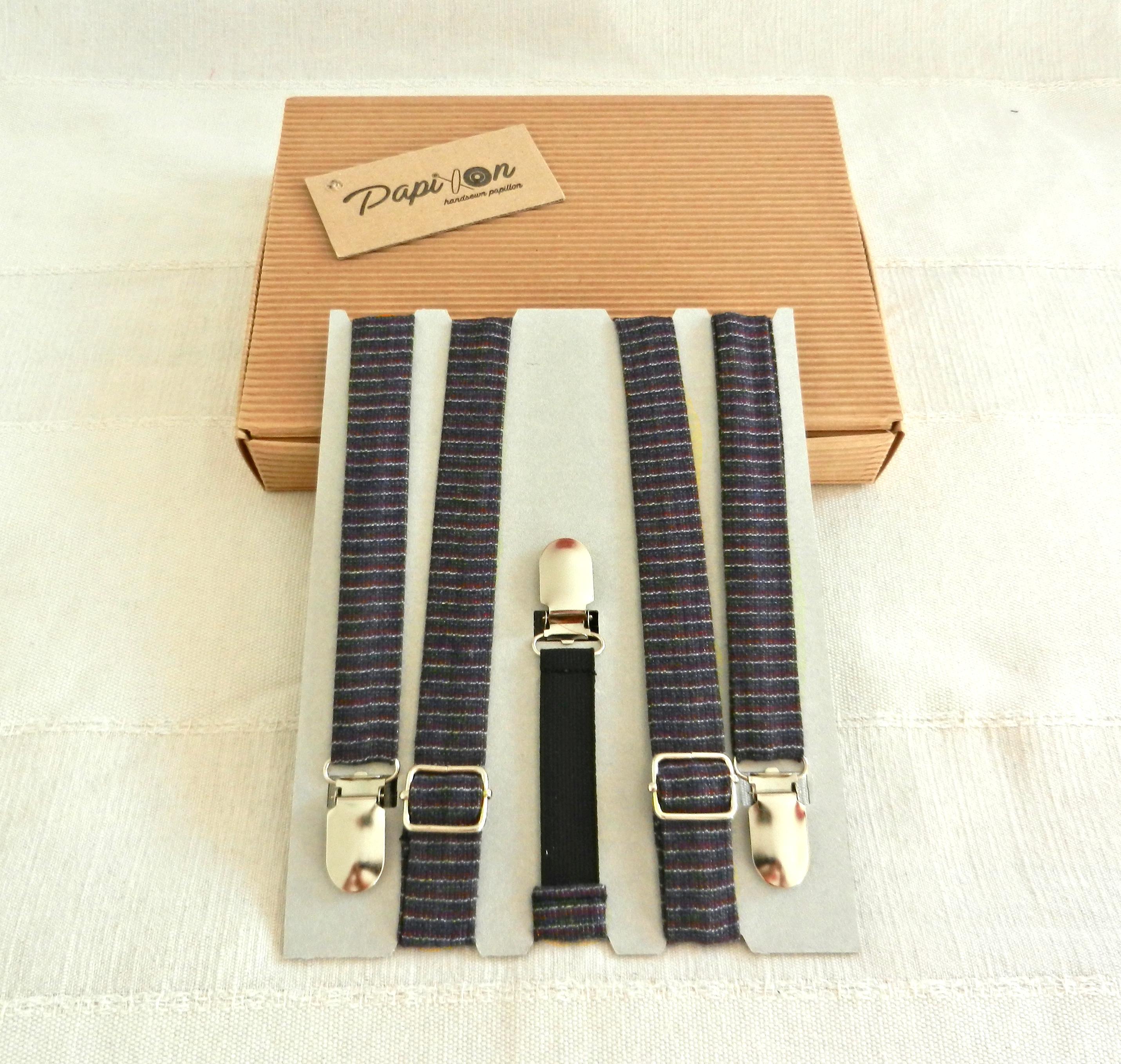 Bretelle strisce Grigio, Bianco, Violetto - Pezzi Unici.