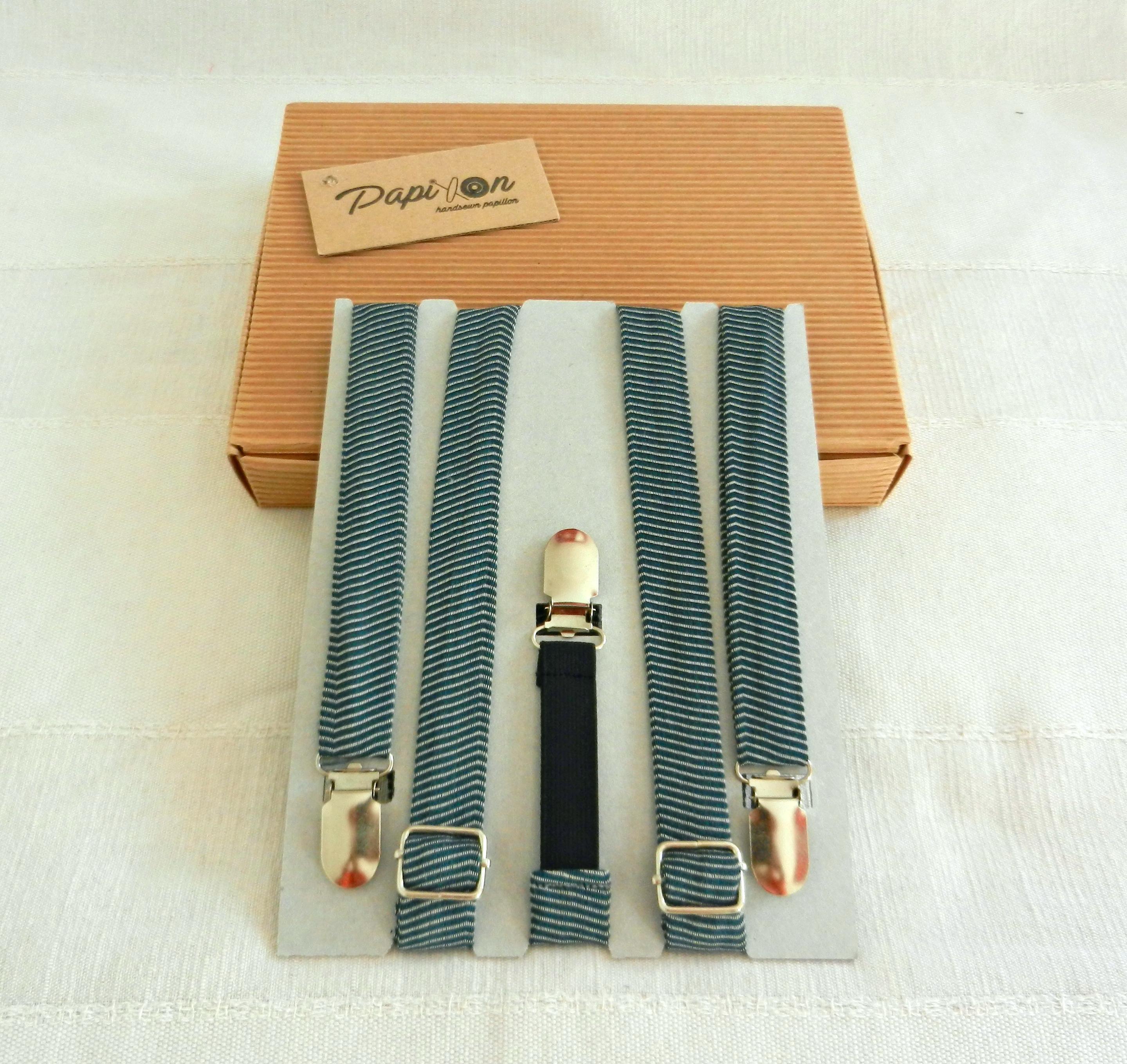 Bretelle strisce Bianco, Verde, Blu - Pezzi Unici