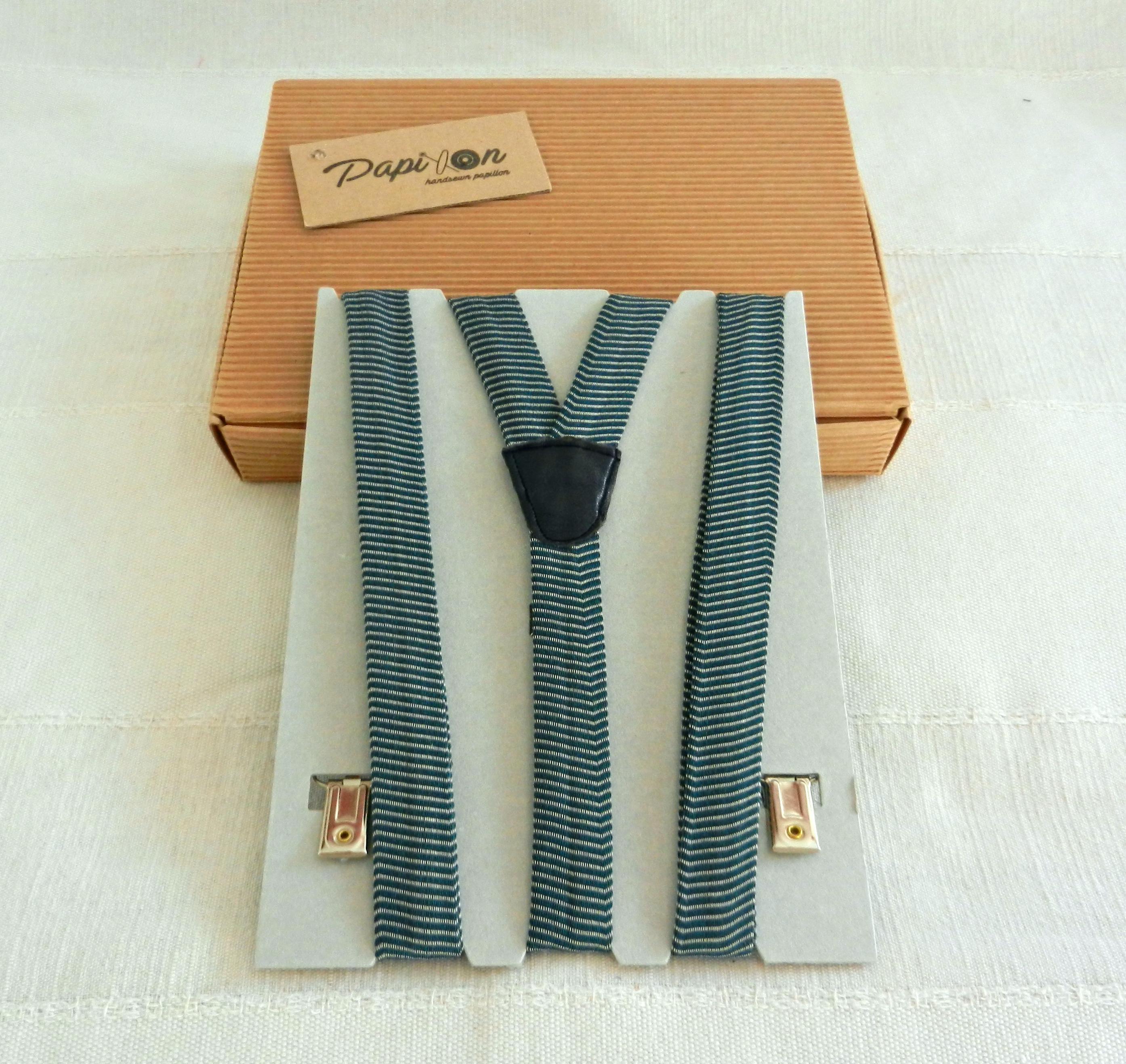 Bretelle strisce Bianco, Verde, Blu - Pezzi Unici1
