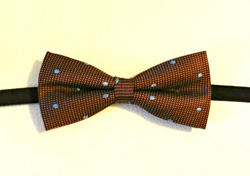 Seta Marrone Pois Azzurri - Pezzi unici-1