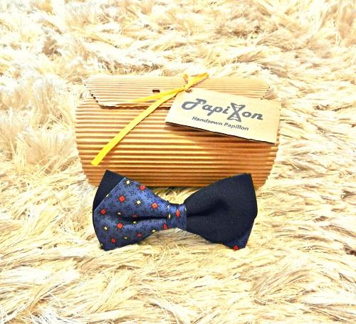 Papillon Blu Fantasia Giallo-Rosso fondo Blu scuro - Pezzi Unici-1