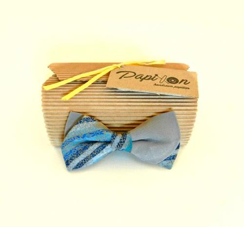 Papillon Seta Grigio fantasia tonalità Blu