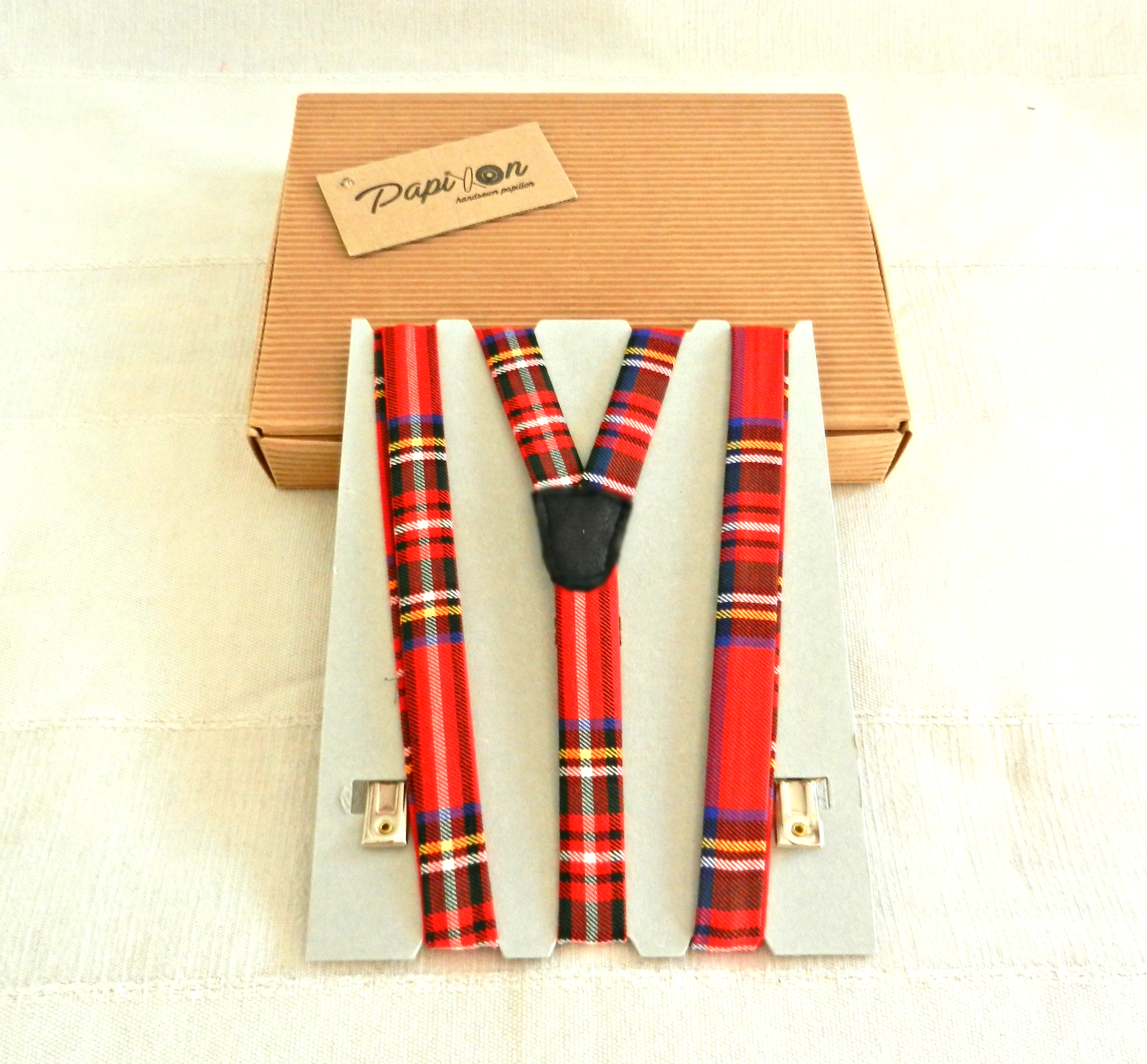 vendite calde seleziona per ultimo morbido e leggero Suspenders KIDS Tartan Red, Blue, Yellow, White, Black - Unique Items