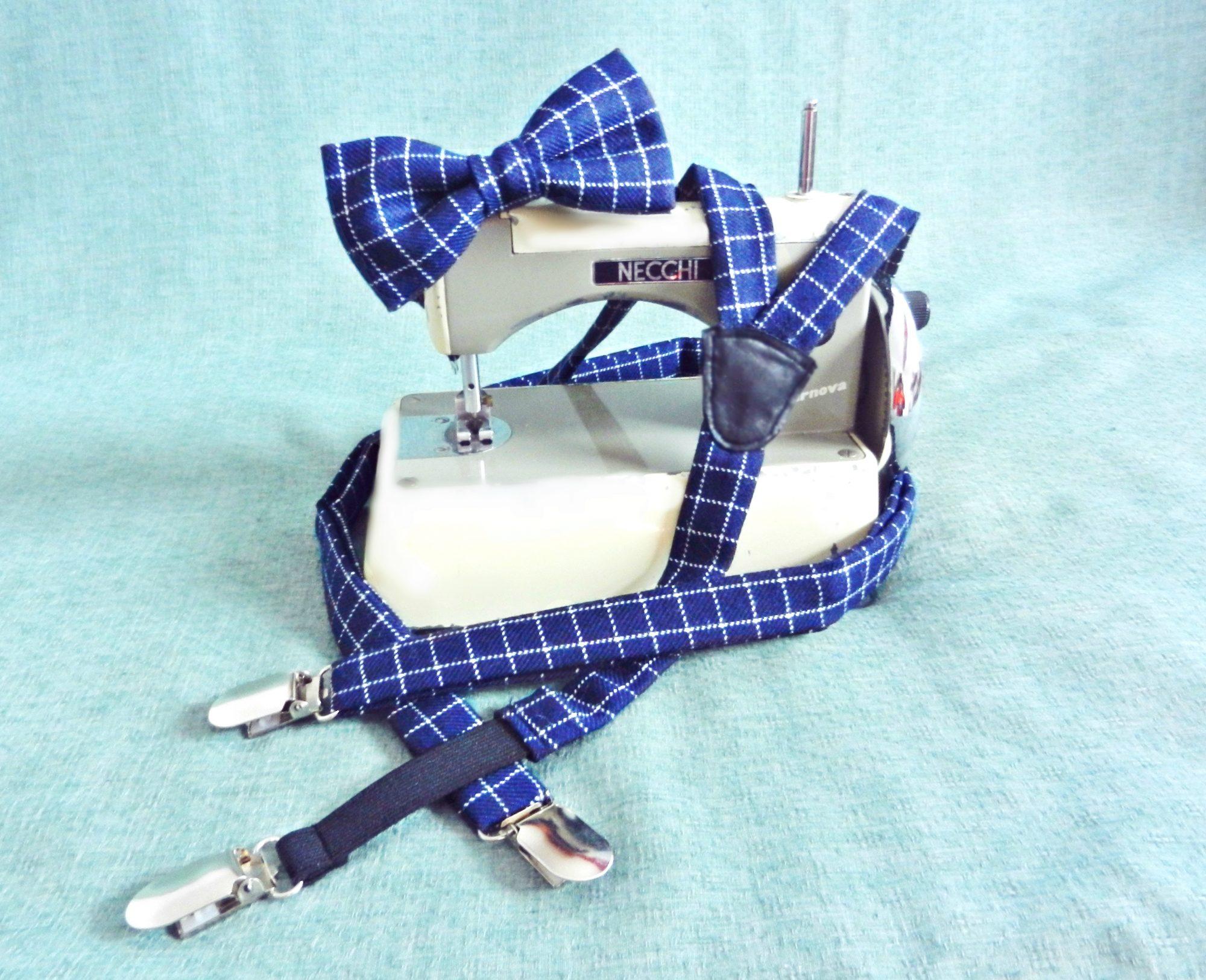Bretelle quadrati Blu, Bianco - Pezzi Unici3