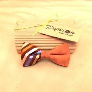 Papillon Seta righe Giallo, Ruggine, Bianco, Azzurro, Arancione - Pezzi Unici