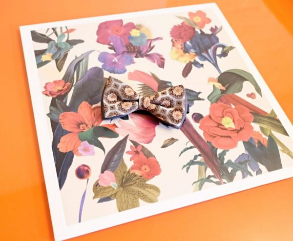 Papillon Seta Esagoni Grigio, Verde, Arancio fondo Grigio - Pezzi Unici 2